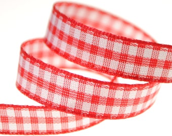 Red and White Plaid Ribbon Trim 3/8 inch wide, Five, Ten, or Twenty-two Yards