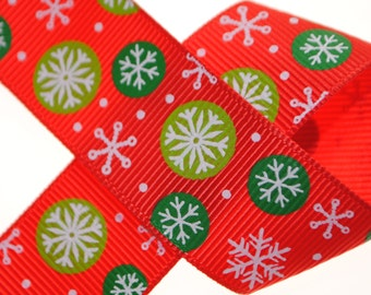 Snowflakes on Red Grosgrain 1 inch (25mm) wide