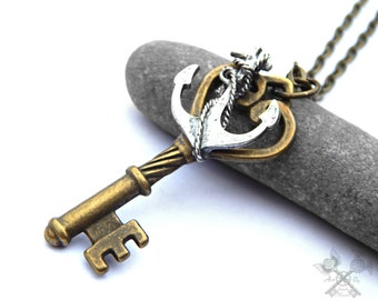 I Refuse to Sink / Anchor Necklace / Mens Anchor Necklace / Key to my Heart Necklace / Skeleton Key Necklace / Fantasy Key Necklace