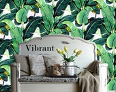 Banana Leaf Removable Wallpaper- Golden Girls- Peel & Stick Self Adhesive Fabric Temporary Wallpaper-Repositionable-Reusable- FAST. EASY.