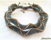 Mermaid green rainbow seed bead crocheted necklace with relief
