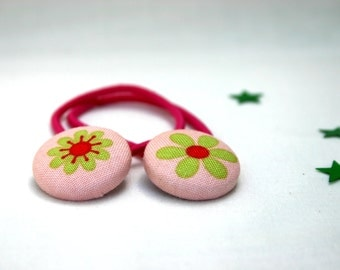 Lime and Pink Groovy Flower Hair Elastics - Set of 2 - Ideal Gift - 23mm - Pony Tail Holder