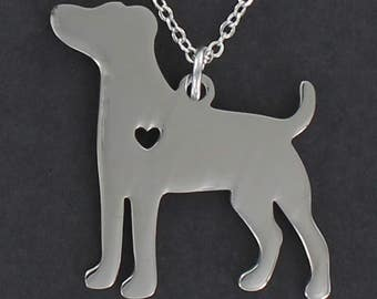 Jack Russell Dog Silhouette Necklace - Tiny Heart Cutout Stainless Charm on a FREE Plated Chain