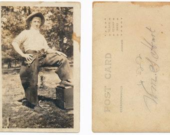 Western Movie Star William S Hart Real Photo Postcard Cowboy Hat Chaps RPPC silver gelatin snapshot photograph