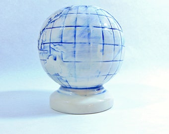 1960s, Globe, Mini Globe, Glass Globe, Globe Bank, Globe Piggy Bank, Vintage Globe, Coin Bank, Office Decor, Office Decorations