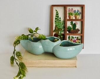 Vintage Aqua Planter- Herb Planter