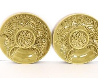 Ceramic Green Artichoke Fondue Plates- Artichoke Plates