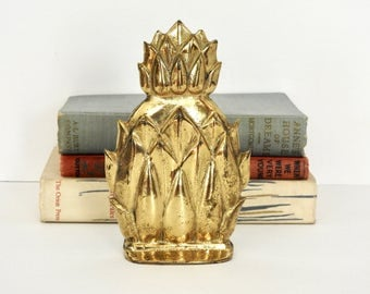 Gold Pineapple Bookend- Hollywood Regency Style