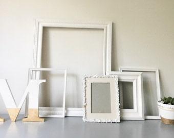 White Gallery Frames with Monogram Letter - Set of 5 Handpainted Frames
