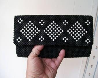 Vintage Fine Arts Bag Co. RHINESTONE CLUTCH Black Beaded Evening Bag Sparkly!