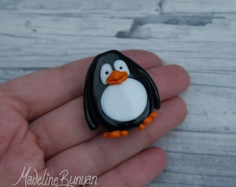 Cute Happy Penguin focal bead large, SRA, Lampwork