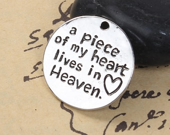 """5 Pet Memorial Charms - Antique Silver - """"A Piece Of My Heart Lives In Heaven"""" - 25mm - Ships IMMEDIATELY from California - SC1351"""