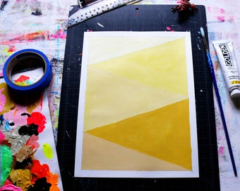 Geometric Abstract Original Painting, 12x9, Yellow & Pastel  NY1664