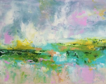 Abstract Landscape - acrylic painting on canvas - size 20cm x 50cm