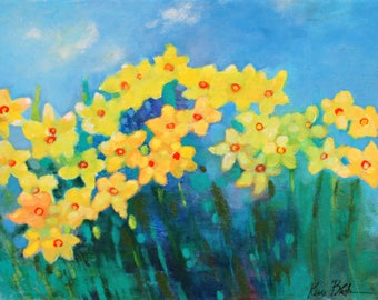 """Colorful Vibrant Abstract Floral, Original Painting on Canvas, Garden Flowers """"Daffodil Garden"""" 18x24"""""""