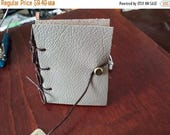 ON SALE at Etsy Taupe Leather Note Book, 2.5x3in, Hand Bound, Refillable, Fully Functional, Blank Pages, Secure Closure, Great Gift, Unisex,