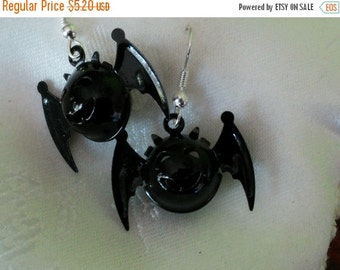 Year End Sale Bells in the Bat-free, Bat Earrings, Black Enamel Metal Bat Bells, Cute Spooky Smiling Faces, Silver Metal Earwires, 1inch x .