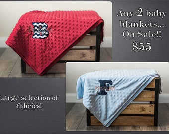 ON SALE! Any 2 Personalized Baby Blankets, Minky Plush Navy Blue, Red, Chevron, Baby Boy or Girl Monogrammed Gift