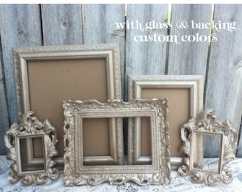 Vintage Style PICTURE FRAMEs - Set - light gold - metallic beige - rustic romantic Wedding - with Glass and Hanging Backs - SALE