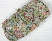 Vintage 1950s Floral Clutch 50s Tapestry Purse with Gold Thread and Little Mirror
