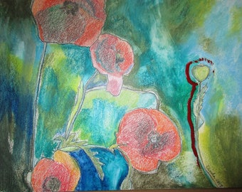 Poppies for Remembrance Mixed Media Panel Original Art Ready to frame