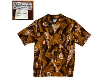 Hawaiian Shirt, Kaikamahine Honolulu, Polynesian Print, Vintage 1960s, Short Sleeve Shirt, Tiki Design, Cotton Barkcloth