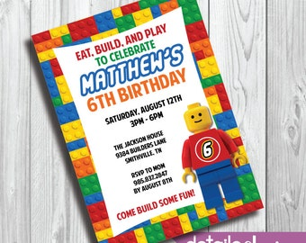 LEGO MAN Party Invitation, Birthday, Kid's Party, Baby Shower - Digital Download