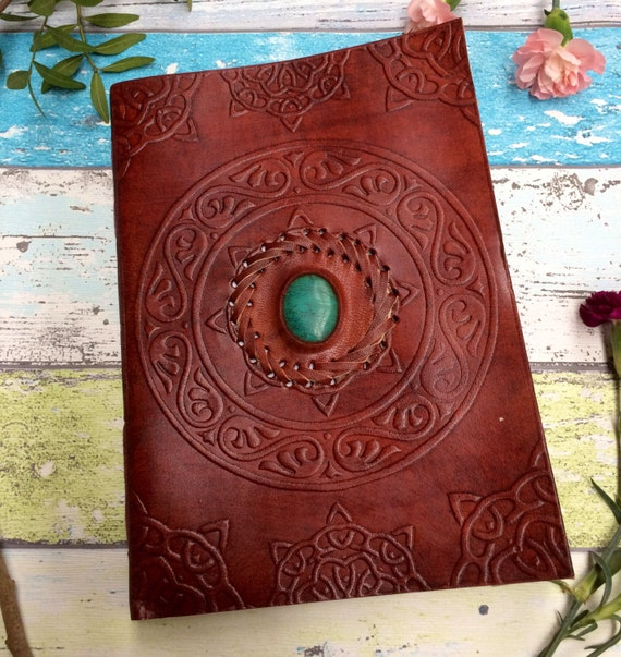 XL LEATHER JOURNAL- Extra Large - Student- Embossed Leather Notebook- Sketch book -Handmade- Vintage Leather Journal- Diary- Scrapbook