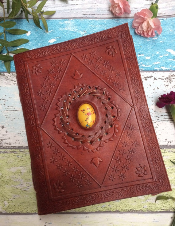 LEATHER CRYSTAL JOURNAL- Large Embossed Journal- Leather Notebook- Diary- Journal- Crystal Journal- Scrapbook- Handmade Diary- Travel log