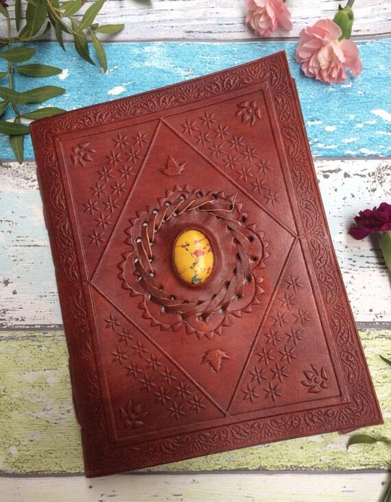 LEATHER CRYSTAL JOURNAL- M - Medium Embossed Journal- Leather Notebook- Diary - Crystal Journal- Scrapbook- Handmade Diary- Travel log