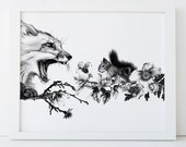 Fox and Squirrel Print 8x10