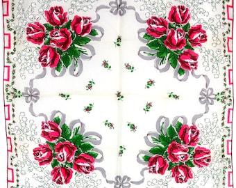 Vintage Pink Rose Hanky, Gray Ribbon Hankie, Red Rose Bouquet Hankie, Bridal Handkerchief, Wedding Handkerchief, Lily of the Valley Hankie