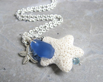 Sea Glass Pendant Diffuser Necklace, Lava Starfish Necklace,  Aromatherapy Essential Oils Jewelry Blue Beach Glass Multiple Charms Necklace