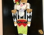 Christmas Door Hanger Nutcracker Door Hanger Large Whimsical Nutcracker with Mackenzie Childs inspired Check Door Hanger