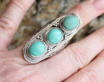 Vintage Custom Made Sterling Silver Green Turquoise Size 7 1/2