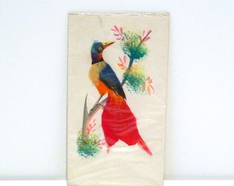Bird Feather Painting Sealed Vintage Feathered Bird Postcard Sanborns Department Store Made in Mexico Folk Art Handmade Greeting Card