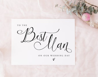 Printable To The Best Man Instant download | wedding party card, bridal party card digital download, on my wedding day, thank you card