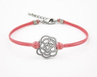 Flower Bracelet, Blush Pink Bracelet, Rose Bracelet, Friendship Bracelet, Silver Rose Bracelet