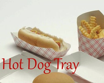 50 Small Hot Dog Trays,  Retro Red Plaid Paper Food Trays , Food Boats