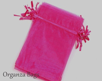 50 Organza Bags, 4x6 inch Hot Pink organza bags Wedding Favor Bridal Gifts Party Supplies Baby Shower