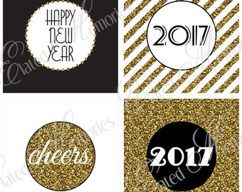 Gold New Year Printable Party Squares - DIY Cupcake Toppers - 2017 Glitter New Year's Eve Celebration