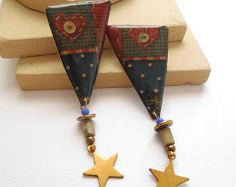 Retro Country Primitive American Flag Stitch Pattern Star Charm Earrings H4