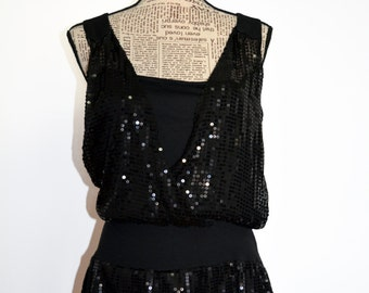 Christmas Dress , on sale Little Black Dress , Mini Black Beaded Sequin Dress , Black Sequin Dress , Bright Iridescent Embellished Dress
