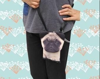 PUG  cross body phone case, smartphone bag, iPhone 4s bag, iPhone 5 or 6 bag, Note 4 bag, dog lover bag, dog purse, PH 1174