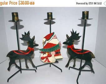 blizzard sale Christmas  candle sticks a set of  3 metal candle holders    reindeer  candle holders  Santa Claus candle holder