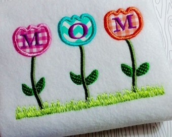Applique flower Mothers Day embroidery design, pink flower, Trio of Flowers appliqué embroidery design, Happy Mothers day design