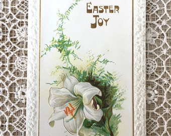 Lovely Edwardian Era Easter Card by Raphael Tuck & Sons-Beautiful Lily