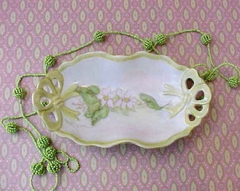 Beautiful and Dainty Hand Painted Dish with Pink Blossoms