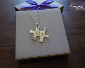 Silver Dad Puzzle Pendant, Satin finish - Silver Puzzle Piece Necklace - Jigsaw Piece