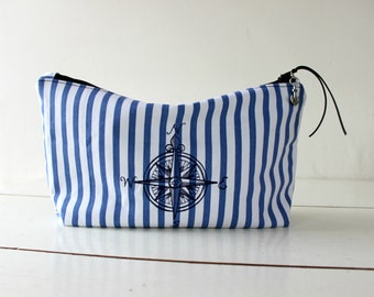 Toiletry bag, navy & white stripes and Denim,embroidered compass. mens, shaving bag, makeup clutch. Husband gift. Groomsmen gift. Dad gift.
